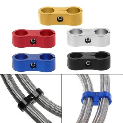 Stepped Billet Dual AN6 6AN 13MM Braided Hose Separator Clamp Cable Fastener NEW
