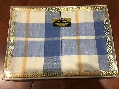 NEW - VINTAGE RETRO boxed tea towels- collectable - checked blue/cream
