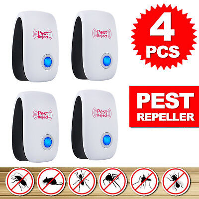 4x Pest Repeller Ultrasonic Electronic Rat Mosquito Insect Rodent Control NEW