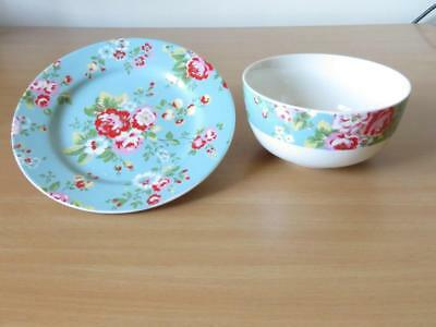 QUEENS for CATH KIDSTON ASHDOWN ROSE SIDE PLATE & CEREAL BOWL