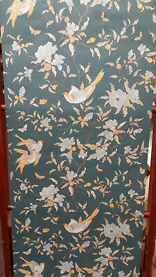 Teal & Gold, Birds, Butterflies & Flowers, Textured Wallpaper