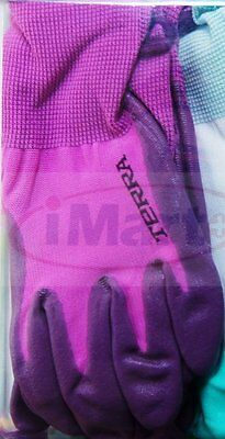 1 Pairs Terra Gardening Garden Ladies Womens Gloves Glove Nitrile Coated new
