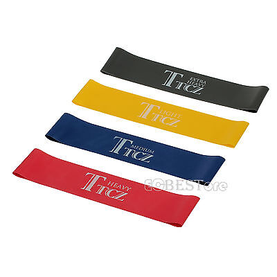 Set Of 4 Heavy Duty Resistance Band Loop Power GYM Exercise Fitness YOGA Workout