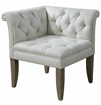 Vintage French Rolled Arm Linen Blend Corner Accent Chair Tapered Legs