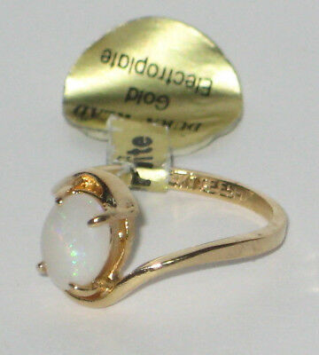 Vintage Dura-Klad Genuine Opal 14k Gold Plated Size 5 Ring New w/ Tag 1.6 grams