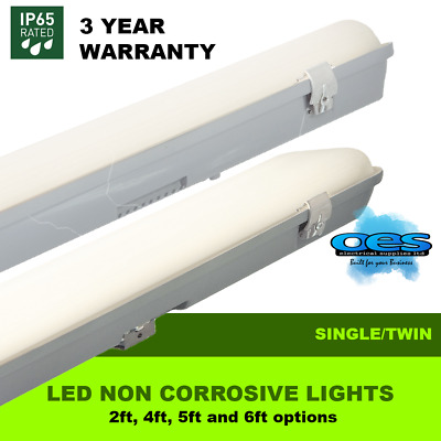 Led Weatherproof Strip Light 2Ft - 6Ft Non Corrosive Single Or Twin Garage Shed