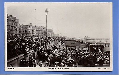 Old Vintage Rp Postcard Kings Road Brighton Sussex Band Playing