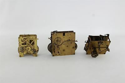 Lot of 3 x Vintage Hand-Wind Clock MOVEMENTS Mixed SPARES&REPAIRS