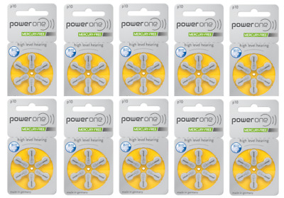 Power one hearing aid batteries (Size 10) - 10 cards (60 cells)