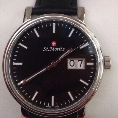 Brand New Genuine St. Moritz Man's Watch With Black Leather Strap