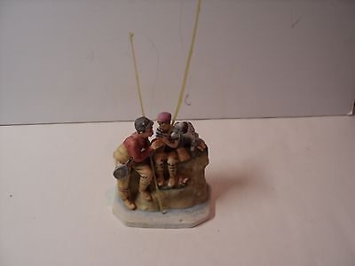 Gorham, Trout Dinner, Normal Rockwell. Figurine. With 2 Fishing Poles and Hooks