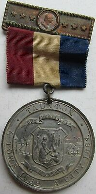 1889 Taunton Massachusetts 250th Anniversary of Settlement 38mm Medal/Ribbon WM