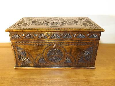 Stationery Box Sycamore Arts And Crafts Fully Carved. c1890's