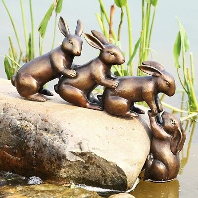 Aluminum Helping Hand Rabbits Garden Sculpture Bunny Bunnies Rabbit 15 x18 x 3.5