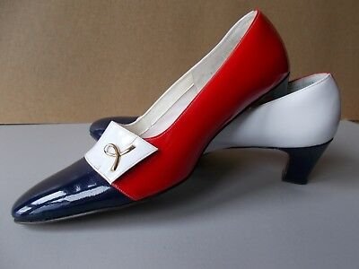 Women's Naturalizer Vintage Red White Blue Patent Leather Pumps Size 9 Aa