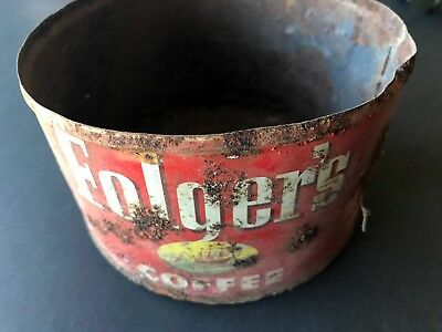 Vintage Folgers Coffee Can Very Rusted But Very Old Rusted Through On Bottom
