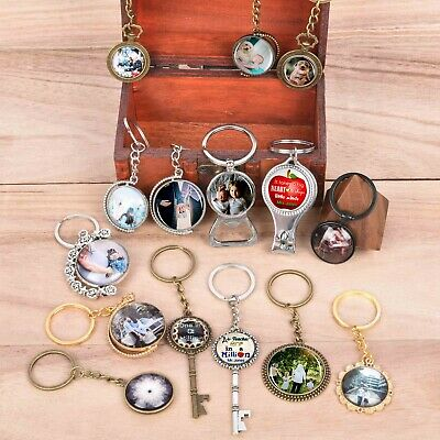 Personalised Custom Photo/Text Gift Keyring Key Fob Bottle Opener+Nail Clippers