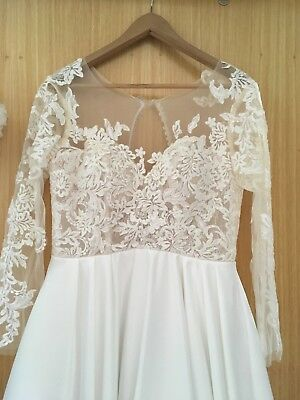 Long sleeve lace satin illusion wedding dress ball gown princess small size 12