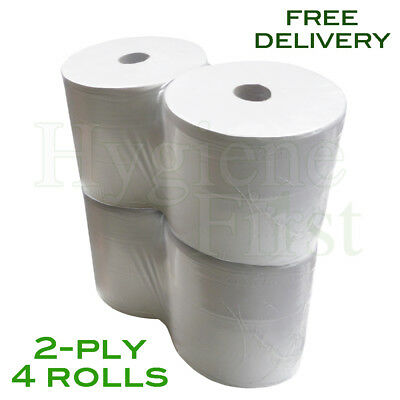 2-Ply White Wiper Disposable 280mm Paper Rolls - Pack Of 4 Rolls (7200 Sheets)