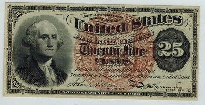 4th Issue Fractional Note 25c Washington  Fr.1302 Large Red Seal