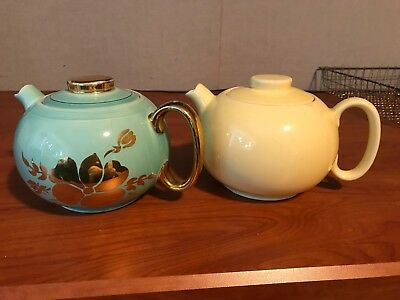 W.S. George Pair Solid Yellow and Blue Floral Teapot from 1938,  Art Deco