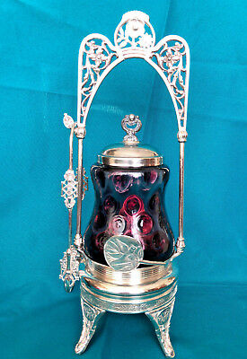 Antique VICTORIAN PICKLE CASTOR Pairpoint Silverplate and Plum Color Insert