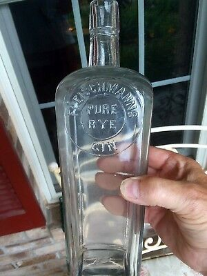 "Blown Case Gin Fleischmanns Pure Rye Gin (Cincinnati, Ohio) 10 7/8"" Tall Nice"