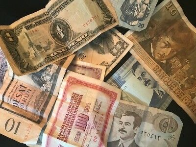 Foreign currency, lot of 11 bills, Saddam cash, Japanese empire cash and more