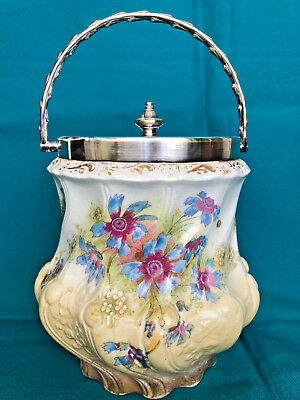 Vintage CRACKER BUSCUIT JAR circa 1900 with Flower Motifs