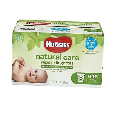 HUGGIES Natural Care Unscented Baby Wipes, Sensitive, 3 Refill Packs, 648 Count