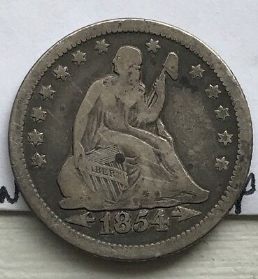 1854 O Seated Liberty Quarter With Arrows