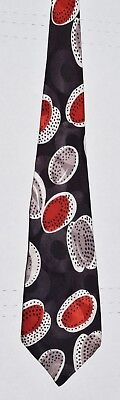 Beautiful Vintage 1940's Necktie: Red & Silver Orbs & Dots