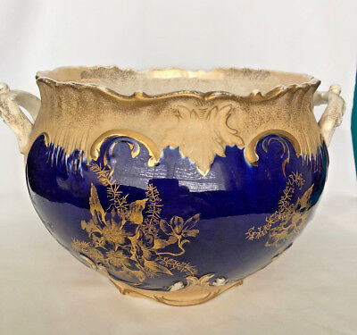 Antique LARGE JARDINIERE with COBALT BLUE and GOLD FLOWERS, TWO HANDLES cir.1800