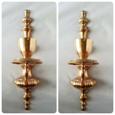 Vintage Brass Wall Sconce Candle Holder Pair of 2 Large Home Decor