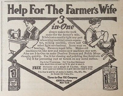 """1916 Ad(Xb33)~Three-In-One Oil. """"help For The Farmer's Wife"""""""
