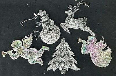 Vintage Acrylic Christmas Ornaments 5 Textured Clear Iridescent Tree Angel