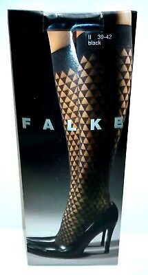 FALKE black patterned knee high pop-socks M/L 39 - 42 20 denier appearance
