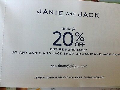 Janie and Jack coupon for 20% off entire purchase exp 7/31/2018