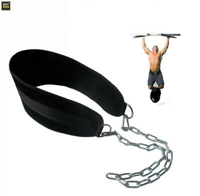 Grofitness Dip Belt with Chain Weightlifting Waist Support Body Building Gym...