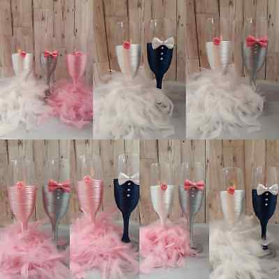 Wedding Bride and Groom Toasting Champagne Glasses Mr & Mrs PINK WHITE GRAY