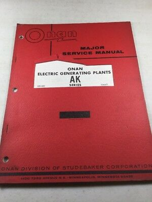 Onan AK Series Electric Generating Plants Service Manual