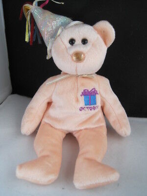 TY Beanie Baby - OCTOBER the Teddy Birthday Bear (w/ hat) (9.5 inch)