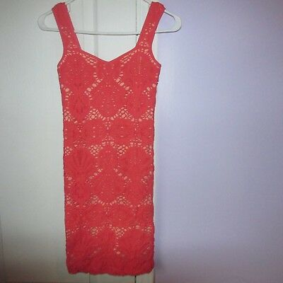 547c3d08e533a INTIMATELY FREE PEOPLE Urban Outfitters Coral Orange Mesh Knit Dress  Bodycon Med -  16.00