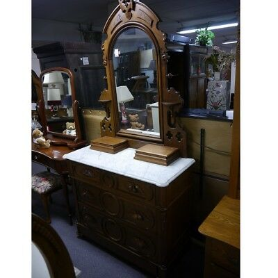 Antique Marble Top Dresser and Mirror