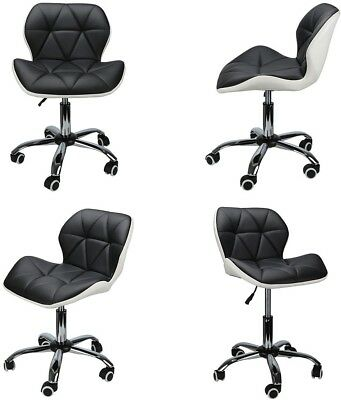 White With Black PU Leather Computer Desk Office Study Chair Adjustable Chair