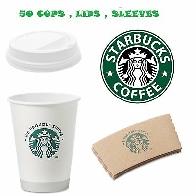 Starbucks White Disposable Hot Paper Cup, 12 Ounce, Sleeves and Lids Pack of 50