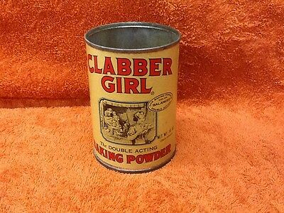 VINTAGE CLABBER GIRL BAKING POWDER TIN WITH PAPER LABEL 10 oz. - NO LID