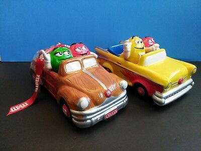M&M's 2002 Ceramic Candy Dish Cars Sealed Cruisin Woody & Hot Rod Convertible