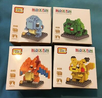 4 Pokemon LOZ Diamond Blocks IBLOCK FUN bulbasaur squirtle charizard Pikachu