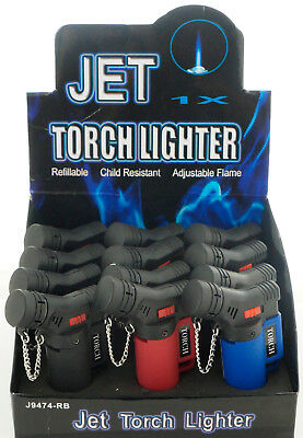 (12) Lot of 12 Side Torch Lighter Adjustable Windproof Butane Refillable 9474RB